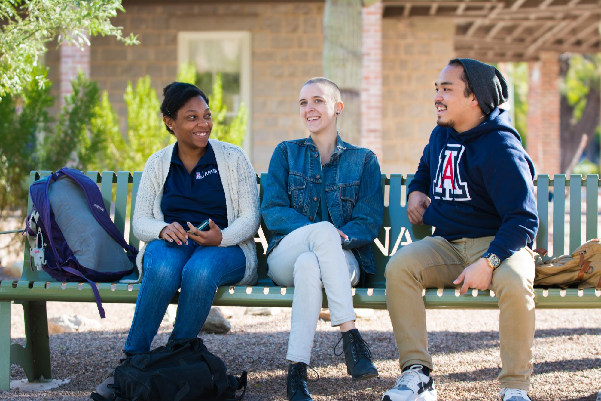 A group of University of Arizona students sitting and talking on a bench.